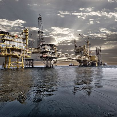 Production platform in the North Sea.